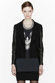 3.1 Phillip Lim Black Biker-sleeve Crossfront Jacket for women | SSENSE