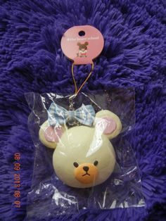 Cute Bear School's Head with checkered baby blue bow. In package and with tag.