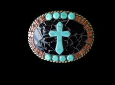 Shoply.com -Western Southwestern  Christian Turquoise Goldstone Mosaic Belt Buckle. Only $65.00