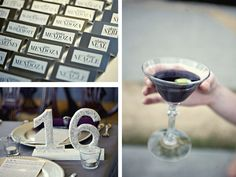 purple and gray reception details