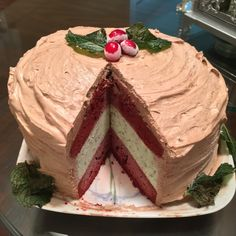 Red Velvet Mint Chocolate Ice Cream Cake!!