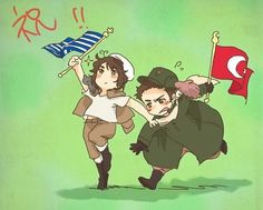 Hetalia - Chiibi Greece and Turkey : My Flag is the BEST !