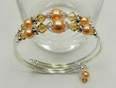 Beaded, Customizable, Peach/Tan Swarovski Crystal and Glass Pearl Memory Wire Bracelet via Etsy