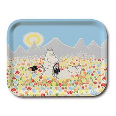 Handmade birch wood tray with Moomin design designed and made in Sweden by Opto Design dishwasher safe size cm Moomin Mugs, Tove Jansson, Wood Tray, Small Island, Birch, Scandinavian, Sunglasses Case, Trays, Handmade
