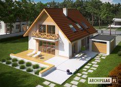 (z wiatą) soft Small House Design, Dream Home Design, Tiny House Family, House Layouts, Home Fashion, House Plans, Farmhouse, Real Estate, Exterior