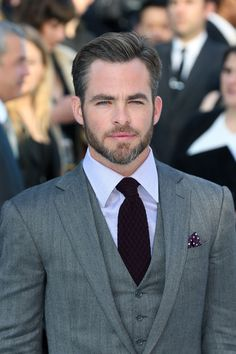 Excellently maintained facial hair. Chris Pine in Ralph Lauren | Tom & Lorenzo