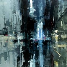 Jeremy Mann.The Geary St. Storm. oil on panel, 48 x 48 inches. 2016.