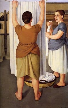 Painting by Italian Artist Antonio Donghi,Laundresses