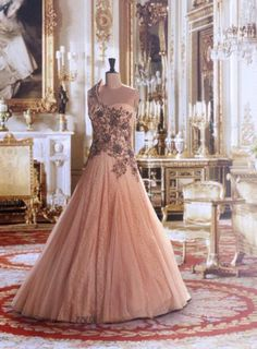 one shoulder gown, blush pink , cocktail gown, indian style embroidery gown for engagement function,Dolly J Bridal Collection