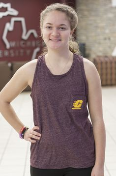 Ladies Central Michigan Maroon Tank With Flying C On The Pocket