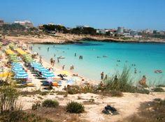 Guitgia Beach is the most popular beach in Lampedusa