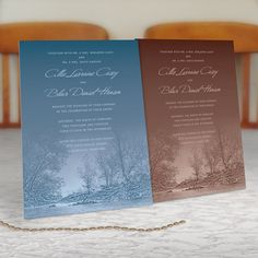 Woodland Wedding Invitations with Snow Covered by ALookOfLove, $25.00