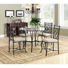 Kitchen Dinette Set Dining Room Furniture 5 Piece Metal Glass Top Table Chairs *** Check out this great product.Note:It is affiliate link to Amazon. #unitedstates