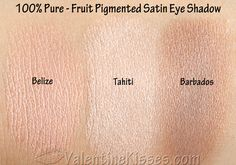 I have three shades to share with you of the Pure Fruit Pigmented Satin Eye Shadows: Belize, Tahiti, and Barbados. Organic Makeup, Organic Beauty, Natural Makeup, Pigment Eyeshadow, Makeup Eyeshadow, 100 Pure Cosmetics, Best Makeup Products, Pure Products, Beauty Products