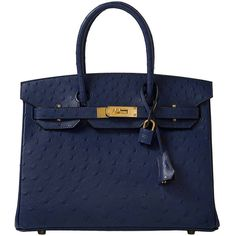 Pre-owned Hermes Blue Iris Ostrich Birkin 30cm (608.580.110 IDR) ❤ liked on Polyvore featuring bags, handbags, handbags and purses, hermes birkin bags, top handle bags, pre owned handbags, purse, ostrich purse, shoulder bags and ostrich handbags