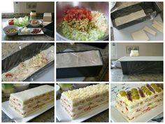 Montaje del pastel fácil pasteles salados de atún con pan de molde Sandwiches, Sandwich Cake, Appetizer Recipes, Appetizers, Spanish Food, Mediterranean Recipes, Vanilla Cake, Cooking Recipes, Yummy Food