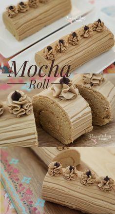 Soft, spongy and delicious Mocha Cake Roll Mocha Roll Cake Recipe, Cake Roll Recipes, Mocha Cake, Mocha Recipe, Filipino Desserts, Filipino Food, Filipino Recipes, Swiss Roll Cakes, Jelly Roll Cakes