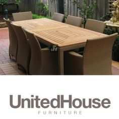 2be29f1f961 Outdoor Wicker 8 Seater Rectangle Dining Table and Chai.