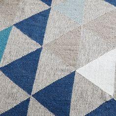 Framed Triangles Wool Kilim Rug, 2'x3', Midnight