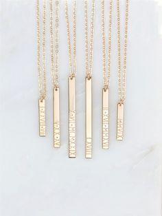 Personalisierte römische Ziffer Vertical Bar Halskette / 14k Gold gefüllt, Sterling Silber, 14k Rose Gold füllen, GLDN GN130_V angepasst