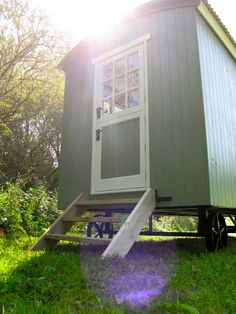 Rocombe Valley Retreat Shepherds Hut, Devon. The shepherds hut is set in an idyllic countryside location beside a small stream on our 85 acre organic farm in the scenic Rocombe Valley http://www.organicholidays.co.uk/at/3065.htm