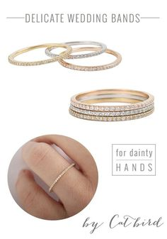 Dainty wedding bands from Catbird