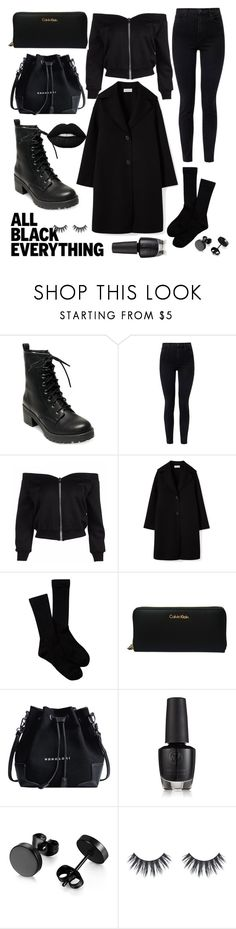 """""""All black everything"""" by httpfuckyoubitches ❤ liked on Polyvore featuring Madden Girl, J Brand, Pendleton and Calvin Klein"""