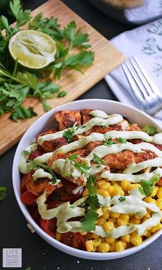 Have you ever enjoyed Burrito Bowls out at a popular Mexican Grill? No need to leave the house to enjoy them anymore! Hop into your soft pants and dig into these homemade Burrito Bowls with avocado cream | by Life Tastes Good. #LTGRecipes #easyrecipe #ricebowl #burrito #mexican #texmex #chickenrecipe