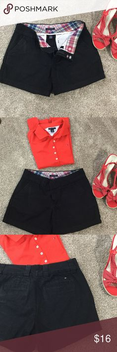 Size 4 Tommy Hilfiger shorts black How cute are these size 4 Tommy shorts.  Super flattering classic fit and pattern on inside is classic adorable Tommy.  Like new! Tommy Hilfiger Shorts