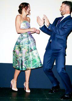 "myoldbluedress: "" Keira Knightley (wearing Mary Katrantzou) and Adam Levine at Begin Again premiere. """