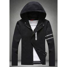 Hooded Letters Pattern Long Sleeve Men's Jacket