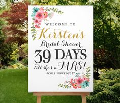 Bridal Shower Countdown Sign, Boho Gold, Mint and Coral