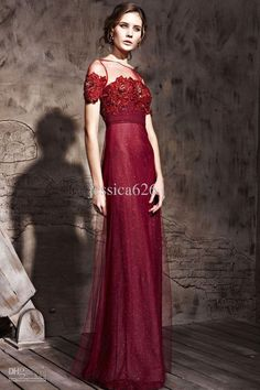 Wholesale Wine Red Evening Dresses Jewil Short Sleeve Lace Appliques Ankle Length Column Formal Party Gowns, Free shipping, $170.45/Piece | DHgate