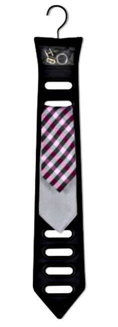 Black Tie Organizer - A unique solution to organizing the stuff that fellas need, the Black Tie Organizer can be hung in the closet or slipped in your suit bag for traveling. Hanging storage with 12 openings for ties and 1 pocket for your cufflinks. Tie Hanger, Tie Rack, Hanging Organizer, Hanging Storage, Guy Dorm, Closet Bar, Closet Ideas, Dorm Storage, Closet Storage