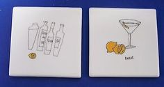 2 Cocktail Martini Lemon Twist Ceramic Tile Coaster in Home & Garden, Kitchen, Dining & Bar, Bar Tools & Accessories | eBay