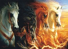 """Four Horses of the Apocalypse is a 1500 piece jigsaw puzzle. Featuring artwork by Sharlene Osorio. Puzzle measures 24 x 33"""" when complete. Sunsout puzzles are Eco-friendly soy-based inks Recycled boar"""