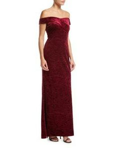 4d5d2999f7f Off-the-Shoulder Embossed Velvet Evening Gown by Aidan Mattox at Neiman  Marcus.
