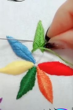 Creative ideas about Embroidery and stitching. Creative ideas about Embroidery and stitching. Hand Embroidery Videos, Embroidery Stitches Tutorial, Sewing Stitches, Hand Embroidery Patterns, Embroidery Techniques, Embroidery Kits, Silk Ribbon Embroidery, Beaded Embroidery, Sewing Art