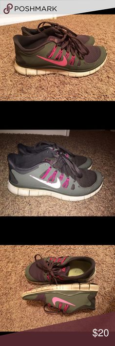 Nike Free Runs 5.0 Nike free runs. The photo looks a little green/purple but they're  gray. EDIT// IM MOVING AND HAVE TO GET RID OF ALL MY ITEMS ASAP!!! SO IM SELLING EVERYTHING AT AN EXTREME DISCOUNT!  price firm. Nike Shoes Sneakers