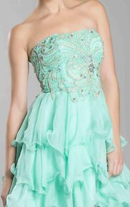 Strapless Sparkle Design High Low Ruffle Prom Dress Plus Sizes Train Flirty Gown | eBay