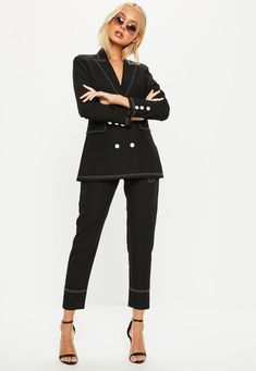 Black Contrast Stitch Double Breasted Suit Blazer Jacket | Missguided