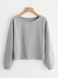SheIn offers Colorful Pearl Beading Heather Knit Pullover & more to fit your fashionable nee. Girls Fashion Clothes, Teen Fashion Outfits, Outfits For Teens, Girl Outfits, Crop Top Outfits, Cute Casual Outfits, Mode Kawaii, Jugend Mode Outfits, Pullover