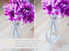 tissue flower DIY with a painted paintbrush as the stem
