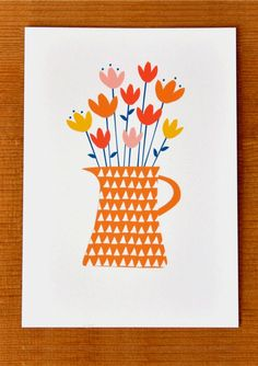 Jug of Flowers Greetings Card, by Paper Made Thoughts via Folksy