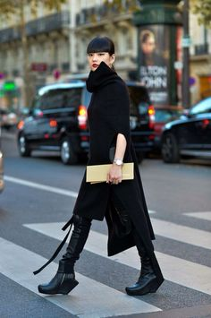 Rick Owens inspired boots with black outfit
