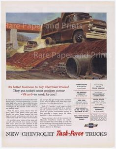 1955 chevrolet dump truck great #vintage illustrated task #force #trucking print ,  View more on the LINK: http://www.zeppy.io/product/gb/2/231751585370/