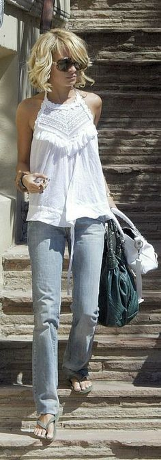 Street style | White top, denim grey heels, handbag