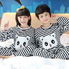 Girls & Boys Autumn Winter Clothes Flannel Pyjamas Girls Pijamas Kids Pajamas Boys Sleepwear Coral Fleece Nightwear Set Homewear