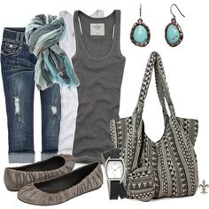 Women's outfits. Women's fashion. Women's clothes. Spring. Summer. Capris. Gray. Grey. Scarf. Turquoise.