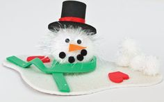 This Melting Pom Pom Snowman is such an adorable winter craft for kids!